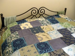 Blues patchwork quilt